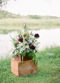 boxed flowers // photo by Hunter Photographic, styling by Baci Designers // Winter Wedding Flowers, Floral Wedding, Diy Wedding, Fall Wedding, Rustic Wedding, Wedding Ideas, Anniversary Party Decorations, Wedding Decorations, Wooden Crates Wedding