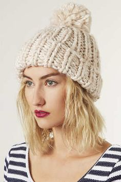 Make your own version of this using our new Chunky Chain yarn in store now! Chunky Hand Knit Beanie