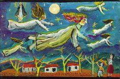 ALMAS buenas que van al CIELO : Damos gracias a la Virgen de Zapopan por habernos dado la oportunidad de ver a la luz de la luna el maravilloso espectáculo de las almas buenas que se iban al cielo resplandeciente   exvotos