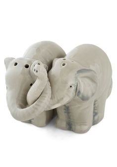 Trunks Full of Taste Shaker Set. When your meal is in need of a metric ton of taste, call on this tiny herd of elephants, as featured in Martha Stewart Real Weddings, to deliver your plate-side essentials with a little bit of love! #grey #wedding #modcloth