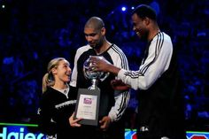 Spurs Tim Duncan & David Robinson with Becky Hammon, the new Spurs assistant coach