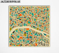 PARIS Map, Giclee Fine Art Print, Modern Abstract Wall Art, Home Decor (13x13) by Modern Artist Jazzberry Blue  Ngt liknande över Göteborg hade varit coolt