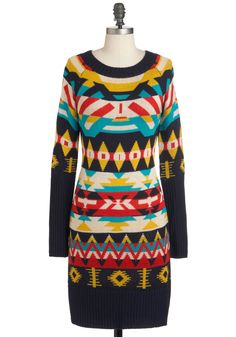 Welcome the Sun Dress - Mid-length, Multi, Red, Yellow, Blue, Grey, White, Print, Casual, Sweater Dress, Long Sleeve, Winter
