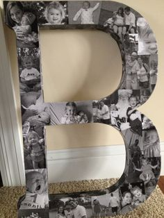 I made 3 different letters for Christmas gifts this year. I bought the letters at Joann's. 1. Print photos on regular computer paper. 2. Glue them on the top and the sides of the letter with Mod Podge. 3. Put a couple coats of Mod Podge over the entire letter. Everyone loved their personalized letter to be hung on their wall.