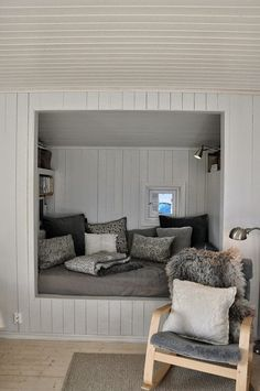 Reading nook for the master bed room. I would love a window behind it. Sleeping Nook, Bed Nook, Alcove Bed, Attic Remodel, Attic Renovation, Cozy Corner, Cozy Nook, Cosy Reading Corner, Home And Deco