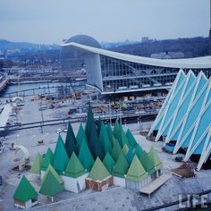 this was the canadian pulp & paper stand at the 67 expo held in montreal forests affect man and his world profoundly. paper, for which the forests produce raw… Expo 67 Montreal, Montreal Ville, Pulp Paper, Miss Moss, Vintage Television, Construction, Urban, World's Fair, Photo Essay