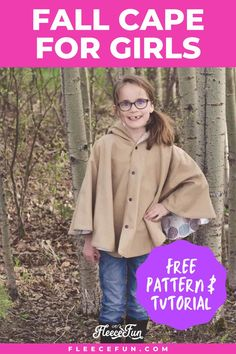 This fall cape for girls is easy to make. The cape provides just enough warmth without being too warm for fall. Discover the free pattern and tutorial to make this adorable cape. The step by step tutorial makes this an ideal project for beginners. This cape is so comfortable to wear and allows for movement, it will become her favorite item to wear. Fall Sewing, Sewing For Kids, Cape Pattern, New Pins, Buttonholes, Wool Blend, Sewing Crafts, How To Wear, Tutorials