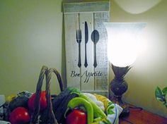 Eat...With Fork, Knife & Spoon Silhouette Bon Appetit! Painted Wood Sign Kitchen Decor Housewarming Gift