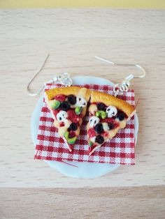 Food Jewelry. Pizza Earrings Polymer Clay Miniature Clay by MyMiniMunchies, $18.00. Polymer clay charms.