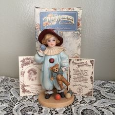 Jan Hagara Collectible Porcelain Figurine TOMMY Dressed as a Clown Limited Ed picclick.com