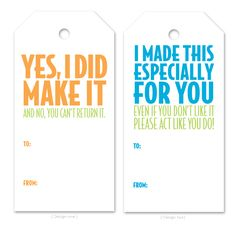 Printable tags for handmade gifts