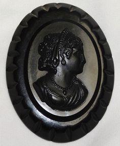 Old Vintage Bakelite Big Cameo Pin Brooch Black Mourning Oval Carved Base Lady Profile Bust http://r.ebay.com/YtNuzN