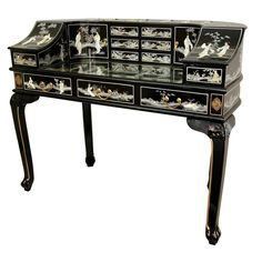 Lady's Roll Top Desk with Mother of Pearl Design