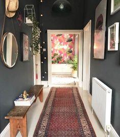 Rug by lisa dawson dark grey hallway, dark gray bedroom, dark grey walls, h Decor, Dark Walls, Home Decor, Hallway Colours, House Interior, Hall Decor, Room Decor, Home Deco, Dark Grey Walls