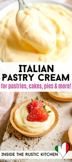 How to make Italian Pastry Cream (Crema Pasticcera) from scratch in only 10 minutes. This smooth and creamy vanilla pastry cream can be used for so many delicious desserts from Italian doughnuts, pastries, cakes or tarts, the list is endless! Italian Pastries, Italian Desserts, Just Desserts, Delicious Desserts, Italian Cake, Gourmet Desserts, French Pastries, Health Desserts, Plated Desserts