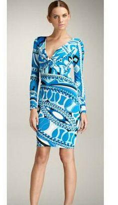 Blue Emilio Pucci V Neck Dress Emilio Pucci Blue Printed