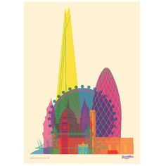 Bold geometric print of London's landmarks by Yoni Alter. Measures 50 x 70cm matt paper. <br><br>Alter works across a variety of different design fields, engaging in commercial and non-commercial graphic design, art-direction and illustration. London and its architecture keep providing Yoni inspiration. His passion for colours lines and shapes is evident in his work. <br><br>Yoni Alter (b. 1980) is an Israeli-British graphic artist living in London. Alter studied at Jerusalem's Art and ...