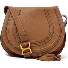 Chloe Medium Light Brown Marcie Leather Saddle Bag ($1,280) ❤ liked on Polyvore featuring bags, handbags, shoulder bags, bolsas, bolsos, brown leather crossbody, leather handbags, leather purse, cross body shoulder bags and brown shoulder bag