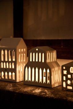 Kahler Urbania Tea Light House - Ceramic Candle Holder - Basilica