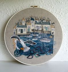 Print of Textile Art with free hand machine embroidery depicting a harbour scene - Folksy Freehand Machine Embroidery, Free Motion Embroidery, Machine Embroidery Applique, Embroidery Hoop Art, Textile Fiber Art, Textile Artists, Textiles, Fabric Pictures, Landscape Quilts