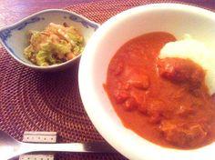 ヨーグルト山盛り入り - 18件のもぐもぐ - バターチキンカレーと白菜のサラダ by yukoad