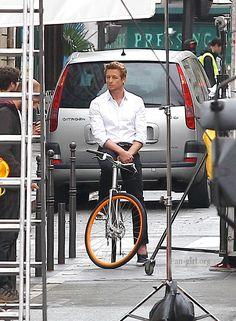 Simon Baker films an advertisement for Givenchy in Paris June 2014