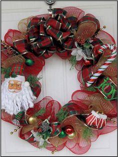 Stylish  Deco Mesh Red / Gold Santa Holiday / Christmas Wreath. $40.00, via Etsy.