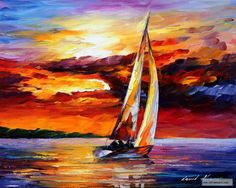 LONG SAIL — PALETTE KNIFE Oil Painting On Canvas By Leonid Afremov
