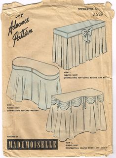 PRICE CUT Vintage 1940s  Dressing Table Skirt Pattern Featured in Mademoiselle Advance 7529