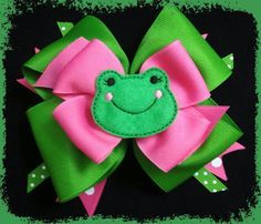 Boutique Pink & Green Frog Hairbow