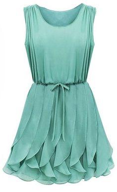 Mint Ruffle Chiffon Dress - She#39;s beautiful!!