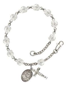 St. Lidwina of Schiedam Silver-Plated Rosary Bracelet with 6mm Crystal Fire Polished beads