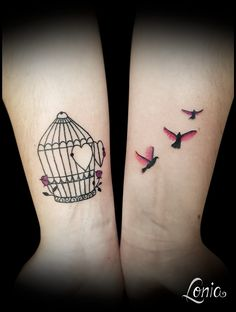 Tatouage Lonia Tattoo cage oiseau envol couleur aquarelle rose ornements ornemental