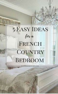 5 easy tricks to get the french country style in your bedroom! These simple idea. - 5 easy tricks to get the french country style in your bedroom! These simple ideas can be done on an - Modern French Country, French Country Bedrooms, French Country Farmhouse, Country Bathrooms, Bedroom Country, Rustic French, French Country Bedding, French Country Furniture, Country Kitchens