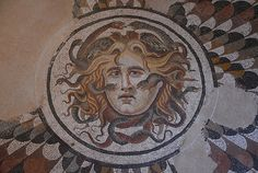 Cental panel of a mosaic floor with the head of Medusa. 1st-2nd century AD, National Museum of Rome