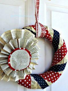Patriot Wreath...........  #GreenLiving #OffTheGrid #DIY #Handmade #Craft #Recycle #Repurpose #ReUse #UPcycle #Art #Sculpture #HandPainted #Wreath Patriotic Wreath, Patriotic Crafts, July Crafts, 4th Of July Wreath, Flag Wreath, Patriotic Party, Wreath Crafts, Diy Wreath, Wreath Ideas