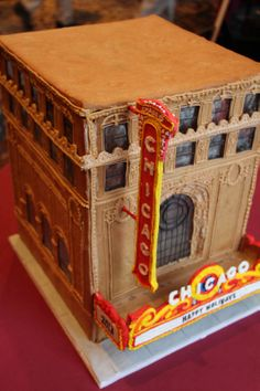 The second place-winning gingerbread house by Katrina Lacock at Pastry Chicago's 8th Annual Pastry Chicago Gingerbread House Competition. Katrina's gingerbread house was her interpretation of the famous Chicago Theater.