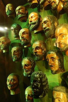 King of England funeral masks at Tower of London