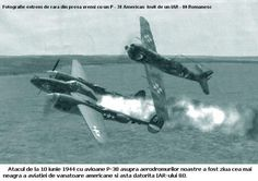 Extremely rare picture made by the Press in that time with a P-38 hit by a Romanian IAR-80 The atack from 10 June 1944 with P-38 planes on romanian airfields was the darkest day for the american fighter aicrafts and that was because of the IAR-80.(Translation from the picture)