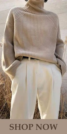 Elegant Fashion High Neck Long Sleeve Sweaters – linenlooks knit sweater outfit,crocheted sweater,sweaters outfits Source by sandsnowlinen Winter fashion Mode Outfits, Casual Outfits, Fashion Outfits, Casual Attire, Cute Fall Outfits, Office Outfits, Dress Casual, Knit Sweater Outfit, Sweater Fashion