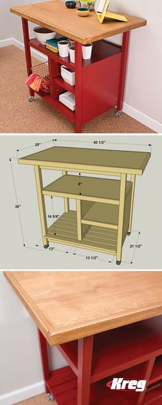 This kitchen cart offers a large work space plus ample storage. Plus, the cart sits on casters, so you can roll it where you want it, and easily move it out of the way. Whether you use it as an island (Diy Storage Cart) Kitchen Island Storage, Diy Kitchen Storage, Kitchen Carts, Kitchen Ideas, Kitchen Islands, Build Kitchen Island Diy, Kitchen Tips, Moving Kitchen Island, Diy Storage Table