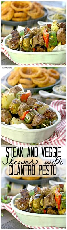 Steak and Vegetable Skewers with Cilantro Pesto! An easy and DELICIOUS dinner made on the grill in minutes! Perfect for BBQs this Summer!