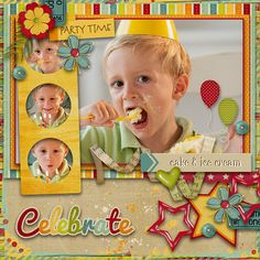 """Cute & Colorful """"Celebrate"""" Birthday Scrapping Page...picture only for inspiration."""