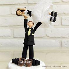 Weight lifting custom wedding cake topper decoration gift keepsake. $190.00, via Etsy.