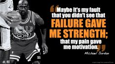 """""""FAILURE Gave Me Strength"""" – Michael Jordan Good morning ! Today's message is: """"Stop Making Excuses!"""" Over to you Michael Jordan. Mj Quotes, Jordan Quotes, Sport Quotes, Motivational Quotes, Inspirational Quotes, Sport Motivation, Fitness Motivation, Basketball Motivation, Fitness Quotes"""