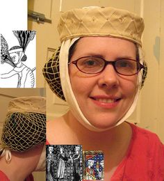 Circa 1275-1300 netted hairnet experiment done by litlnemo, via Flickr. Nice views with period pictorial