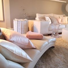 I would love to cozy up on this chaise :)  Love all the pretty pillows and fluffy rug!