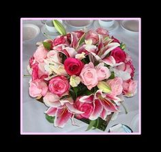 Pink wedding centerpiece, wedding flower bouquet, bridal bouquet, wedding flowers, add pic source on comment and we will update it. www.myfloweraffair.com can create this beautiful wedding flower look.