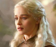 Daenerys study by kir-tat on DeviantArt (detail) Daenerys Targaryen Art, Emilia Clarke Daenerys Targaryen, Khaleesi, Fantasy Images, Fantasy Art, Game Of Thrones Art, Hair Game, Mother Of Dragons, Book Cover Art