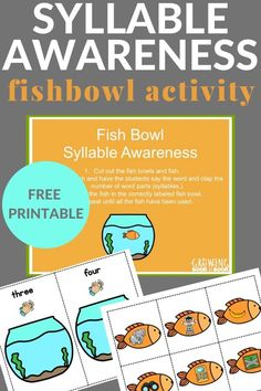Increase syllable awareness with this fishy activity to build phonological awareness. Includes a free printable and books about fish. Phonological Awareness Activities, Rhyming Activities, Preschool Learning Activities, Preschool Books, Writing Activities, Kids Learning, Early Learning, Teaching Resources, Preschool Special Education